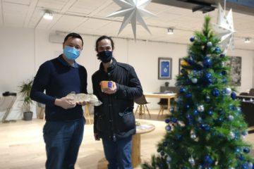 Ruben Sarfati et Eric JANVIER de l'association des Riverains de la Pie chez King immobilier pour le foie gras